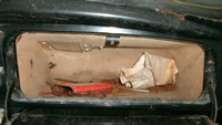 Glove box, front view.