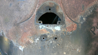 License plate mounting holes, top view.